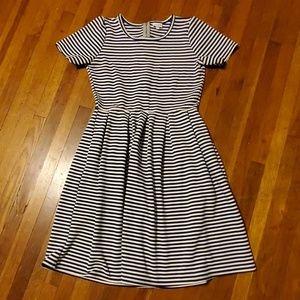 """LuLaRoe """"Amelia"""" Navy/White Stripe Dress, Large"""
